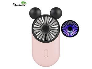 Cute Personal Mini Fan Handheld Portable USB Rechargeable Fan with Beautiful LED Light 3 Adjustable Speeds Portable Holder for Indoor Or Outdoor Activities Cute Mouse Pink