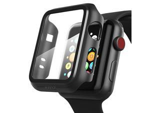 Compatible Apple Watch Series 3 Series 2 Case with Screen Protector 38mm Accessories Slim Guard Thin Bumper Full Coverage Matte Hard Cover Defense Edge for Women Men New Gen GPS iWatch Black