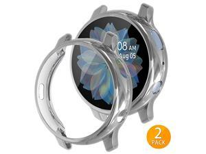2 Pack  Compatible with Samsung Galaxy Watch Active 2 Screen Protector Case 44mm 40mm Soft TPU Bumper Full Around Cover for Samsung Galaxy Watch Active2 44 40 Silver 40mm