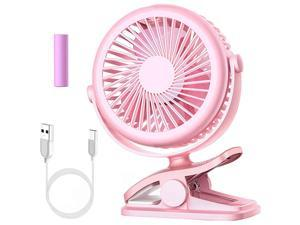 Stroller Fan  Clip On Battery Operated Fan with 3 Adjustable Speed for Baby Carseat Travel Camping Pink
