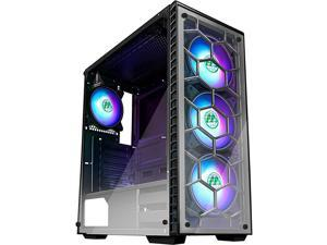ATX Mid Tower Gaming Computer Case 4 RGB LED FansUp to 6 Fans 2 Translucent Tempered Glass Panels USB 30 PortCable ManagementAirflow Gaming Style Window Case 903N4