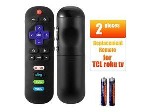 Pack of 2 Remote Control Compatible with TCL Roku TV Smart TV RC280 55UP120 55us57 55S401 32S3850 40FS3800 48FS3700 32S3800 48FS4610R with HULU VUDU Key 2017 2018 TCL tv rokuand Batteries
