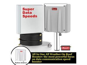 High Data Speed Cell Phone Signal Boosterfor Home Convenience Store Apartment Workshop All US Carriers All in One On Roof Cell Booster Speed Kit Supports 4000 sq ft