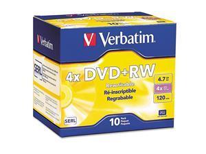 94839 DVD+RW Discs 47GB 4X wSlim Jewel Cases Pearl 10Pack