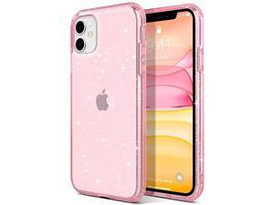 iPhone 11 Case Bling Glitter Hybrid Protective Case Slim Fit Transparent AntiScratch Shock Absorption TPU Bumper Cover Designed Phone Case for iPhone 11 61 inch Pink