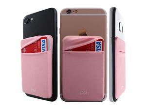 Secure Lid Credit Card Holder Stick on Wallet Discreet ID Holder Lycra Spandex Card Sleeves for Smartphones iPhone Galaxy Cell Phone Wallet Case 3M Adhesive Rose Gold
