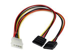 com 12in LP4 to 2x SATA Power Y Cable Adapter Molex to to Dual SATA Power Adapter Splitter PYO2LP4SATA