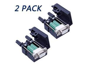 2PCS DB9 Solderless RS232 D-SUB Serial to 9-pin Port Terminal Male Adapter Connector Breakout Board with Case Long Bolts Tail Pipe (2PCS Female)