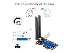 PC MacOS WiFi BT pci wifi card 80211agnac WLAN + BT 40 PCIE PCI Network Adapter maccompatible WiFi AirDrop Handoff Instant Hotspot macOS MIMO 2x2 Mac OS X natively supported BCM4360 AC1200