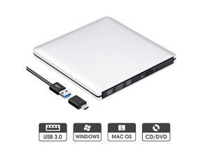 External DVD Drive USB 30 Slim Aluminum Portable CD DVD +RW Optical Drive Burner Writer Player for Windows 10 8 7 Laptop Computer Mac MacBook Pro Air iMac Silver
