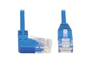 Right Angle Cat6 Ethernet Cable Gigabit Molded Slim UTP Network Patch Cable Blue 3 ft N204S03BLRA
