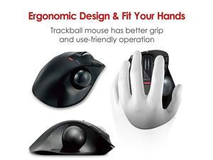LeftHanded 24GHz Wireless Thumboperated Trackball Mouse 6Button Function with Smooth Tracking Precision Optical Gaming Sensor MXT4DRBK