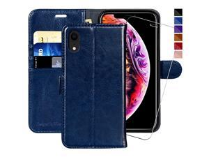 iPhone XR Wallet Case,6.1-inch, [Glass Screen Protector Included] Flip Folio Leather Cell Phone Cover with Credit Card Holder for Apple iPhone XR