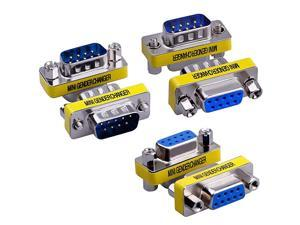 6Pack DB9 9Pin Male to MaleFemale to FemaleMale to Female Mini Gender Changer Coupler Connector RS232 Serial Cable Extender Adapter