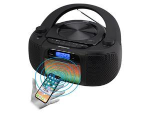 MD6972 Portable Top Loading CD Boombox with Digital AM/FM Stereo Radio, Color Changing Lights, and Bluetooth Wireless Technology   CD-R/CD-RW Compatible   LCD Display  
