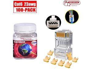 23AWG Cat6a Cat6 Connector Gold Plated 8P8C Pass Through Ends UTP Network Plug for Unshielded Twisted Pair Solid Wire amp Standard Cables | Transparent Passthrough Ethernet Insert 100Packs