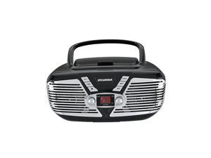 Portable CD Boombox with AMFM Radio Retro Style Black