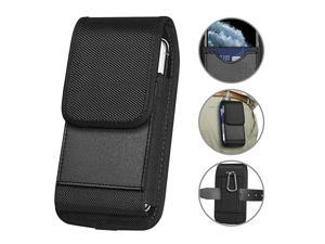 Vertical Nylon Holster Compatible with iPhone SE2 2020 7 8 11 Pro XR X Carrying Cell Phone Holster Belt Holder Case Pouch with Card Slot for Samsung Galaxy A01 A51 S20 S10 S9 S10e A20 Moto