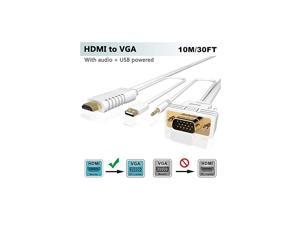 HDMI to VGA 30FT Adapter/Converter Cable with Audio,1080P Video, Convert HDMI to VGA Connector (TV,Monitor,Projector) for PC,PS4 Pro,Xbox One,  Male HDMI-VGA Input Convertidor/Adaptador Cord