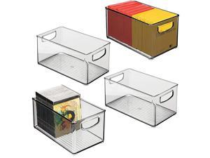 Stackable Plastic Storage Bin Container with Handles for Home Office Holds Gel Pens Erasers Tape Pens Pencils Markers Notepads Highlighters Staplers 5quot High 4 Pack Smoke Gray