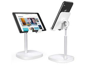 Cell Phone StandAngle Height Adjustable  Cell Phone Stand for DeskThick Case Friendly Phone Holder Stand for Desk Compatible with All Mobile PhonesWhite