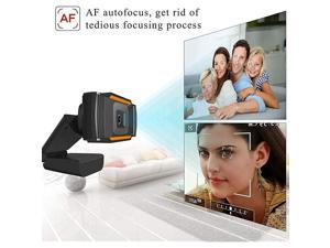 HD Webcam 720P with Microphone, Auto Focus Full HD Webcam Widescreen Streaming Computer Web Camera USB Webcam for Video Calling, Recording, Conferencing, Gaming, Rotatable Clip