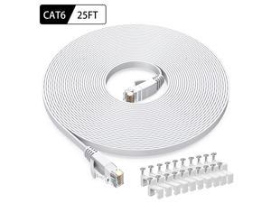 Cat6 Ethernet Cable 25 FT White  Cat6 Flat RJ45 Computer Internet LAN Network Ethernet Patch Cable Cord 25 Feet