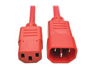 Standard Computer Power Extension Cord 10A 18 AWG IEC320C14 to IEC320C13 Red 3 ft P004003ARD