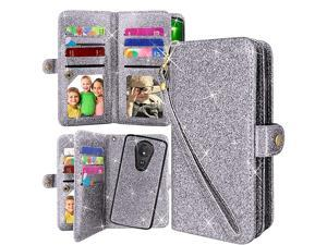 Detachable Magnetic 12 Card Slots Wallet Case PU Leather Flip Protective Cover Wrist Strap for Motorola Moto G7 Supra G7 Optimo MaxxMoto G7 Power Bling Grey