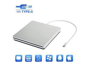 USB-C Superdrive USB External CD DVD Drive, External DVD/CD Reader and DVD/CD Burner,Compatible with Windows 10 8 7 XP Vista Mac OS System for Mac Pro Air iMac Laptop (Silver)