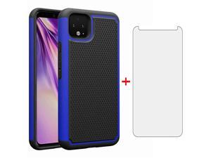 Case for Google Pixel 4 with Tempered Glass Screen Protector Cover and Cell Accessories Hard Hybrid Slim Rugged Full Body Silicone Rubber TPU Pixel4 Pixle Four Cases Women Men Girls Black Blue