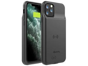 Case for iPhone 11 Pro Max 65 inch 5000mAh Slim Portable Protective Extended Charger Cover with Wireless Charging Compatible with Lightning Audio BX11 Pro Max Black