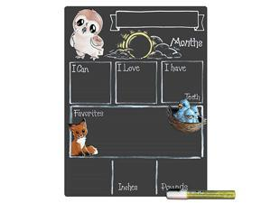 Monthly Milestone Board for Baby with Woodland Theme Reusable Chalkboard Style Surface and Liquid Chalk Marker 12 by 16 Inches White Marker