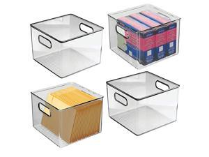 Plastic Home Office Storage Organizer Bin with Handles Container for Cabinets Drawers Desks Workspace for Pens Pencils Highlighters Notebooks 8 Wide 4 Pack Smoke Gray
