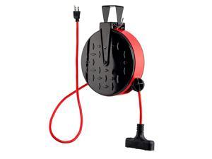 30 ft Retractable Extension Cord Reel Ceiling or Wall Mount 16 gauge Red and Black