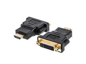 HDMI to DVI Adapter  2Pack BiDirectional HDMI Male to DVI Female Converter 1080P DVI to HDMI Conveter 3D for PS3PS4TV BoxBlurayProjectorHDTV015M Black