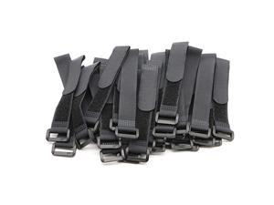 25pcs Black Reusable Fastening Cable Straps Hook and Loop Cable Tie Down Straps 08 x 6