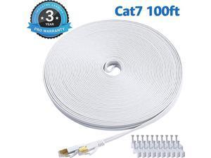 7 Ethernet Cable 100 Ft White Flat Gigabit High Speed Gigabit Shielded RJ45 LAN Cable
