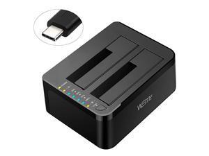USB C 30 to SATA External Hard Drive Dock Docking Station SSD HDD Disk Duplicator Cloner for Dual Bay 25 35 Inch SATA I II III Support UASP and Auto Sleep and 2X 12TB Black