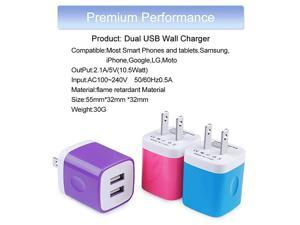 Wall ChargerCharging Block 3Pack 21A Dual Port Wall Charging Plug Head Travel Charger Cube Compatible for iPhone 11XsXRXs MaxX8 7 6 PlusSamsung GalaxyLGMotoGoogleAndroid Phone