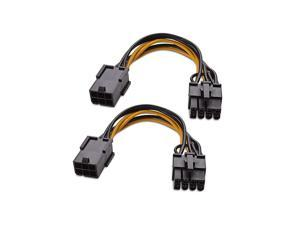 2Pack 6 Pin to 8 Pin PCIe Adapter Power 4 Inches