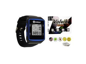 GPS Golf Watch Bundle with 1 Dozen Volvik Golf Balls, 5 Ball Markers and 1 Magnetic Hat Clip - Rangefinder with Preloaded Courses, Step Tracking, Distance to Hole Measurements, and Par Info