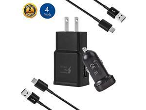 Adaptive Fast Charger Kit for Samsung Galaxy S10 S10e S9S8S8 PlusNote 89 USB 20 Recharger Kit Wall Charger + Car Charger + 2 x Type C USB Cables Quick ChargerBlack