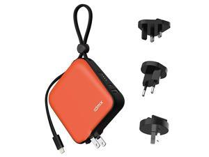 Portable Charger for iPhone Battery Pack 10000mAh External Battery for ipad  Power Bank with Built in MFI Certified Apple Lightning Charger Cable Built in Wall Plug Travel Adapters Orange