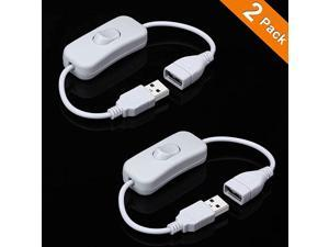 2 Pack Male to Female USB Cable with OnOff Switch USB Extension Inline Rocker Switch for Driving Recorder LED Desk Lamp USB Fan LED StripWhite