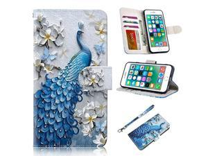 iPhone 6s Case iPhone 6 Case  Premium PU Leather Funny Pattern Flip Wallet Case Cover wCard Slots Stand Compatible iPhone 66s 47 Inch Peacock