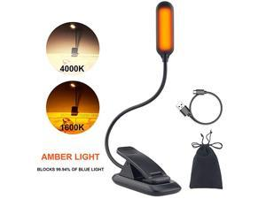 Amber Book Light Rechargeable Book Reading Light Clip Night Light for Reading Books in Bed Dimmable Brightness 1600K Amber Light 4000K Warm Light Best Book Light for Kids Bookworms Travel