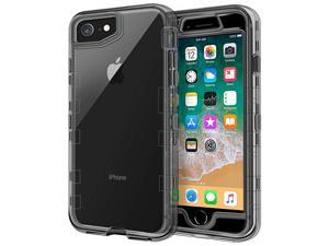 """Case for iPhone SE 2020 Case, iPhone 8 Case, iPhone 7 Case 4.7"""", 3 in 1 Heavy Duty Defender Shockproof Full-Body Clear Protective Case Hard Plastic Shell & Soft TPU Bumper Cover, Clear Black"""