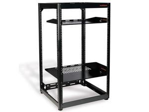 15U Open Frame Rack Heavy Duty 4 Post Design Holds All Your Network Servers AV Gear Includes 2 Vented Shelves is Wall Mountable