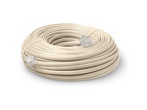 Line Cord 50 Feet Modular TeleExtension Cord 50 Feet 2 Conductor 2 pin 1 line Cable Works Great with FAX AIO and Other Machines Ivory